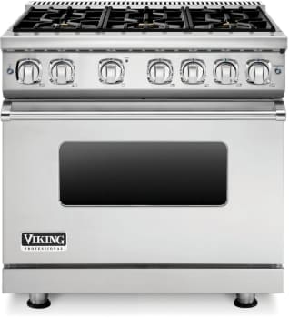Viking Professional 7 Series VGR73616BSS - 36 Inch Viking Professional 7 Series Gas Range shown with Countertop Rear Trim