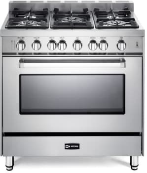 "Verona VEFSGG365NSS - Stainless Steel 36"" Pro-Style Gas Range with 5 Sealed Burners"