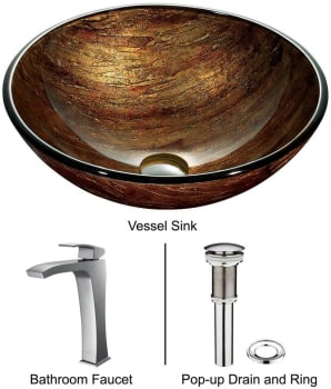 Vigo Industries Vessel Sink Collection VGT182 - Amber Sunset Glass Vessel Sink