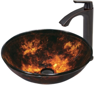 Vigo Industries Vessel Sink Collection VGT366X - Gold and Brown Glass Sink with Antique Rubbed Bronze Faucet