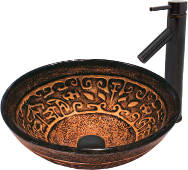 Vigo Industries Vessel Sink Collection VGT372 - Golden Greek Glass Vessel Sink and Dior Faucet Set in Antique Rubbed Bronze