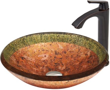 Vigo Industries Vessel Sink Collection VGT377 - Janus Glass Vessel Sink and Linus Faucet Set in Antique Rubbed Bronze