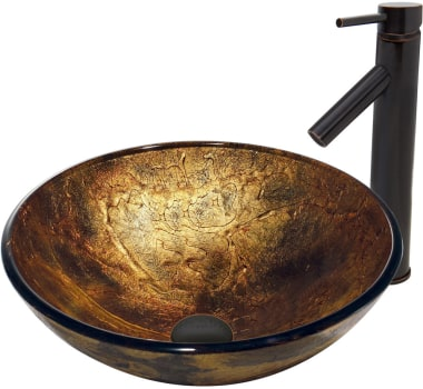 Vigo Industries Vessel Sink Collection VGT378 - Copper Shapes Sink with Dior Faucet in Antique Rubbed Bronze