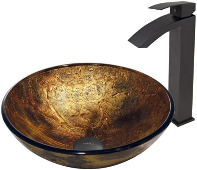 Vigo Industries Vessel Sink Collection VGT379 - Copper Shapes Sink with Duris Faucet in Matte Black