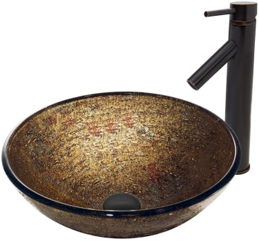 Vigo Industries Vessel Sink Collection VGT382 - Textured Copper Glass Vessel Sink and Dior Faucet Set in Antique Rubbed Bronze