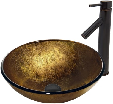 Vigo Industries Vessel Sink Collection VGT385 - Liquid Gold Glass Vessel Sink and Dior Faucet Set in Antique Rubbed Bronze