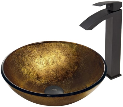 Vigo Industries Vessel Sink Collection VGT386 - Liquid Gold Glass Vessel Sink and Duris Faucet Set in Matte Black