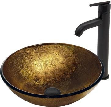 Vigo Industries Vessel Sink Collection VGT387 - Liquid Gold Glass Vessel Sink and Seville Faucet Set in Matte Black