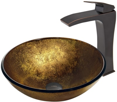 Vigo Industries Vessel Sink Collection VGT388 - Liquid Gold Glass Vessel Sink and Blackstonian Faucet Set in Antique Rubbed Bronze