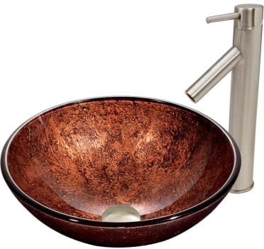 Vigo Industries Vessel Sink Collection VGT393 - Mahogany Moon Glass Vessel Sink and Dior Faucet Set in Brushed Nickel