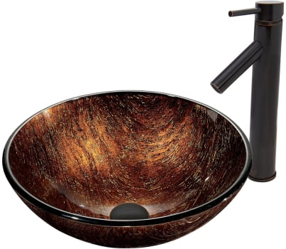 Vigo Industries Vessel Sink Collection VGT396 - Kenyan Twilight Glass Vessel Sink and Dior Faucet Set in Antique Rubbed Bronze