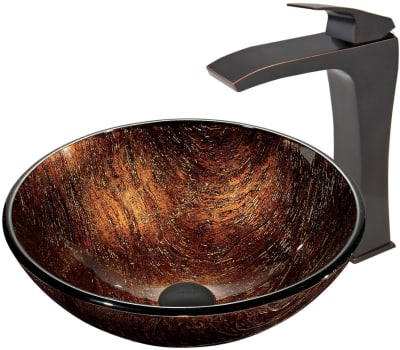 Vigo Industries Vessel Sink Collection VGT399 - Kenyan Twilight Glass Vessel Sink and Blackstonian Faucet Set in Antique Rubbed Bronze