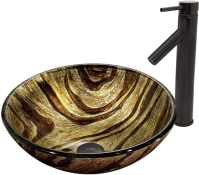 Vigo Industries Vessel Sink Collection VGT409 - Zebra Glass Vessel Sink and Dior Faucet Set in Antique Rubbed Bronze