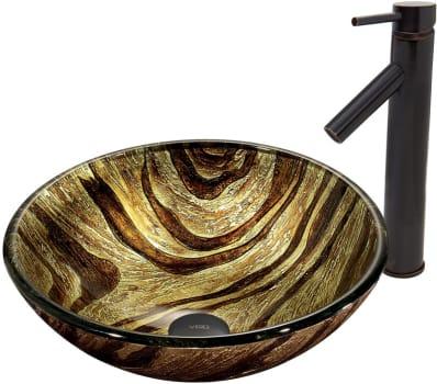 Vigo Industries Vessel Sink Collection VGT409 - Zebra Glass Vessel Sink and Dior Faucet Set in Antique Rubbed Bronze