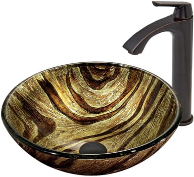 Vigo Industries Vessel Sink Collection VGT410 - Zebra Glass Vessel Sink and Linus Faucet Set in Antique Rubbed Bronze