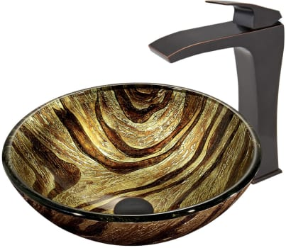 Vigo Industries Vessel Sink Collection VGT40B - Zebra Glass Vessel Sink and Blackstonian Faucet Set in Antique Rubbed Bronze