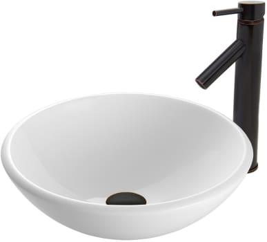 Vigo Industries Vessel Sink Collection VGT4BC - White Phoenix Stone Glass Vessel Sink and Dior Faucet Set in Antique Rubbed Bronze