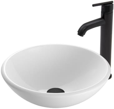 Vigo Industries Vessel Sink Collection VGT429 - White Phoenix Stone Glass Vessel Sink and Seville Faucet Set in Matte Black