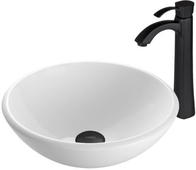 Vigo Industries Vessel Sink Collection VGT431 - White Phoenix Stone Glass Vessel Sink and Otis Faucet Set in Matte Black