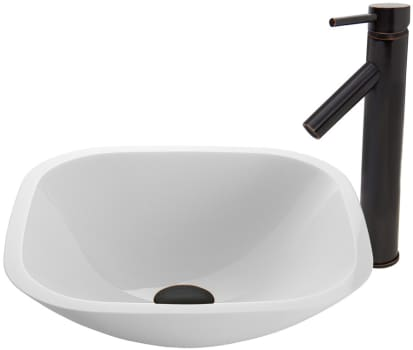 Vigo Industries Vessel Sink Collection VGT436 - Square Shaped White Phoenix Stone Glass Vessel Sink and Dior Faucet Set in Antique Rubbed Bronze Finish
