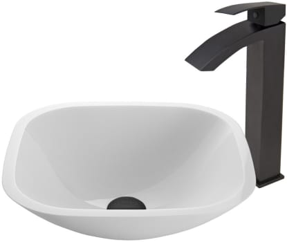 Vigo Industries Vessel Sink Collection VGT437 - Square Shaped White Phoenix Stone Glass Vessel Sink and Duris Faucet Set in Matte Black Finish