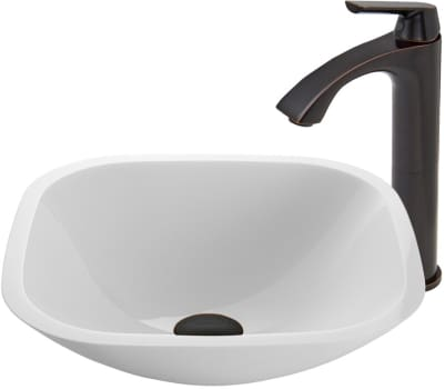 Vigo Industries Vessel Sink Collection VGT438 - Square Shaped White Phoenix Stone Glass Vessel Sink and Linus Faucet Set in Antique Rubbed Bronze Finish