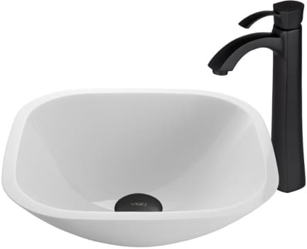 Vigo Industries Vessel Sink Collection VGT439 - Square Shaped White Phoenix Stone Glass Vessel Sink and Otis Faucet Set in Matte Black Finish