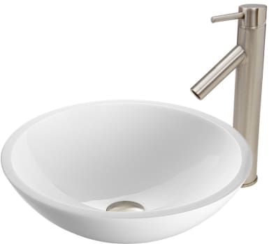 Vigo Industries Vessel Sink Collection VGT446 - Flat Edged White Phoenix Stone Glass Vessel Sink and Dior Faucet Set in Brushed Nickel Finish
