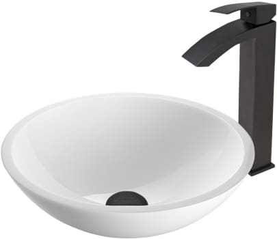 Vigo Industries Vessel Sink Collection VGT448 - Flat Edged White Phoenix Stone Glass Vessel Sink and Duris Faucet Set in Matte Black Finish