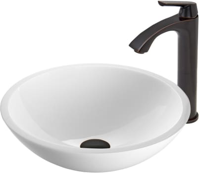 Vigo Industries Vessel Sink Collection VGT450 - Flat Edged White Phoenix Stone Glass Vessel Sink and Linus Faucet Set in Antique Rubbed Bronze Finish
