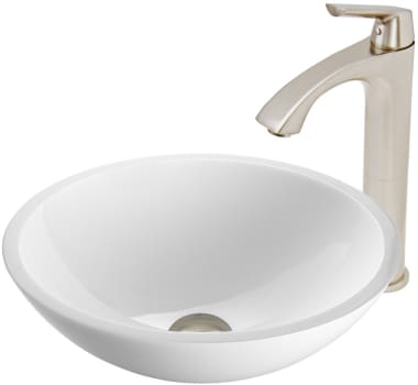 Vigo Industries Vessel Sink Collection VGT451 - Flat Edged White Phoenix Stone Glass Vessel Sink and Linus Faucet Set in Brushed Nickel Finish