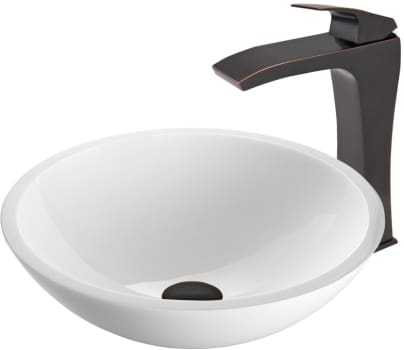 Vigo Industries Vessel Sink Collection VGT452 - Flat Edged White Phoenix Stone Glass Vessel Sink and Blackstonian Faucet Set in Antique Rubbed Bronze Finish