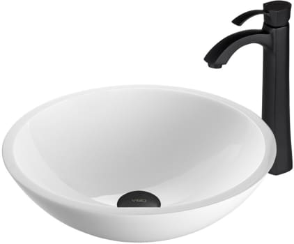 Vigo Industries Vessel Sink Collection VGTABC - Flat Edged White Phoenix Stone Glass Vessel Sink and Otis Faucet Set in Matte Black Finish