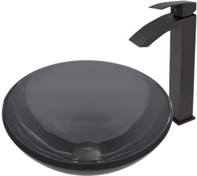 Vigo Industries Vessel Sink Collection VGT459 - Sheer Black Glass Vessel Sink and Duris Faucet Set in Matte Black Finish