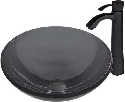 Vigo Industries Vessel Sink Collection VGT4DE - Sheer Black Glass Vessel Sink and Otis Faucet Set in Matte Black Finish