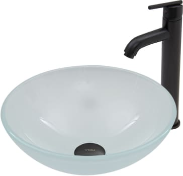 Vigo Industries Vessel Sink Collection VGT468 - White Frost Glass Vessel Sink and Seville Faucet Set in Matte Black Finish