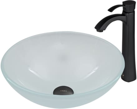 Vigo Industries Vessel Sink Collection VGT470 - White Frost Glass Vessel Sink and Otis Faucet Set in Matte Black Finish