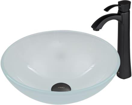 Vigo Industries Vessel Sink Collection VGT4EF - White Frost Glass Vessel Sink and Otis Faucet Set in Matte Black Finish