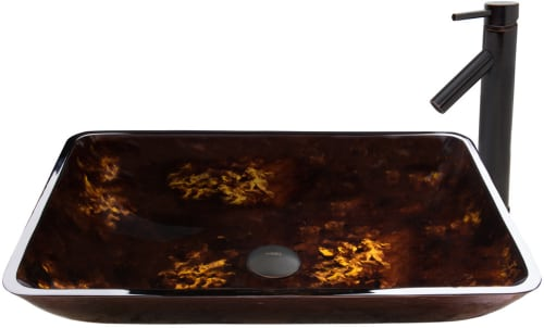 Vigo Industries Vessel Sink Collection VGT474 - Rectangular Brown and Gold Fusion Glass Vessel Sink and Dior Faucet Set in Antique Rubbed Bronze Finish 469.00