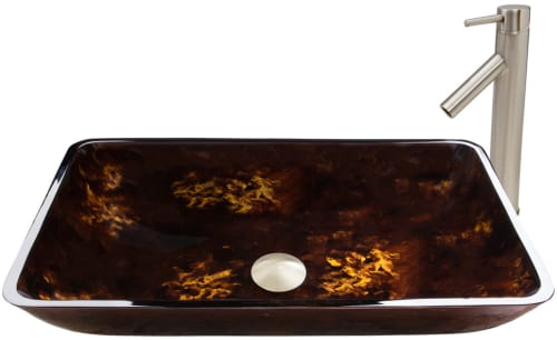 Vigo Industries Vessel Sink Collection VGT475 - Rectangular Brown and Gold Fusion Glass Vessel Sink and Dior Faucet Set in Brushed Nickel Finish