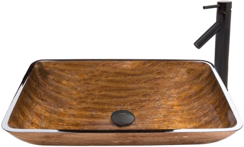 Vigo Industries Vessel Sink Collection VGT485 - Rectangular Amber Sunset Glass Vessel Sink and Dior Faucet Set in Antique Rubbed Bronze Finish