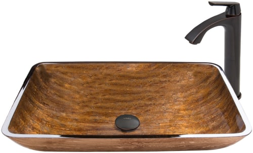Vigo Industries Vessel Sink Collection VGT486 - Rectangular Amber Sunset Glass Vessel Sink and Linus Faucet Set in Antique Rubbed Bronze Finish