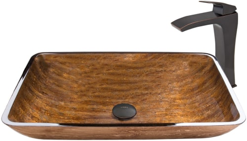 Vigo Industries Vessel Sink Collection VGT487 - Rectangular Amber Sunset Glass Vessel Sink and Blackstonian Faucet Set in Antique Rubbed Bronze Finish