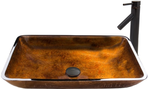 Vigo Industries Vessel Sink Collection VGT490 - Rectangular Russet Glass Vessel Sink and Dior Faucet Set in Antique Rubbed Bronze Finish