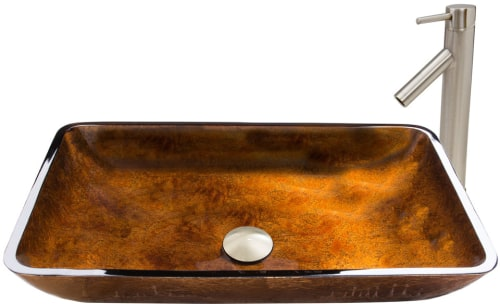 Vigo Industries Vessel Sink Collection VGT491 - Rectangular Russet Glass Vessel Sink and Dior Faucet Set in Brushed Nickel Finish