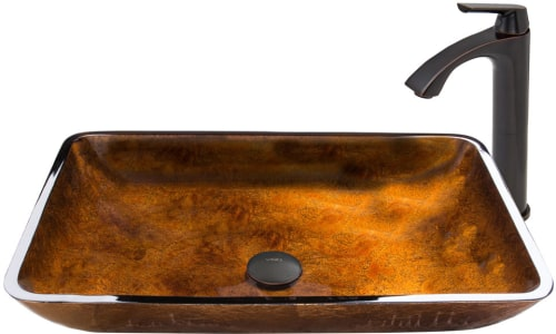 Vigo Industries Vessel Sink Collection VGT494 - Rectangular Russet Glass Vessel Sink and Linus Faucet Set in Antique Rubbed Bronze Finish