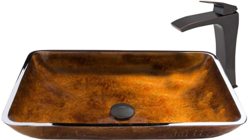 Vigo Industries Vessel Sink Collection VGT49A - Rectangular Russet Glass Vessel Sink and Blackstonian Faucet Set in Antique Rubbed Bronze Finish