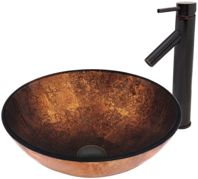 Vigo Industries Vessel Sink Collection VGT499 - Russet Glass Vessel Sink and Dior Faucet Set in Antique Rubbed Bronze Finish