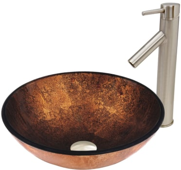 Vigo Industries Vessel Sink Collection VGT500 - Russet Glass Vessel Sink and Dior Faucet Set in Brushed Nickel Finish