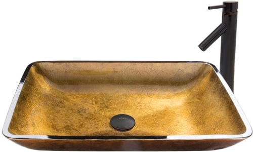 Vigo Industries Vessel Sink Collection VGT512 - Rectangular Copper Glass Vessel Sink and Dior Faucet Set in Antique Rubbed Bronze